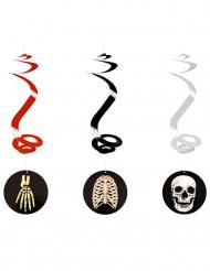3 Halloween spiraler med skeletter til ophæng