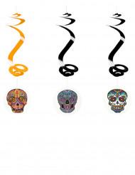 3 spiraler til ophæng Dia de los Muertos 60 cm