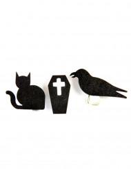 6 klemmer i træ med gotiske motiver Halloween