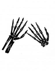 6 skelethænder sorte med kridt Halloween