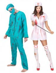 Parkostume zombie kirurg og sygeplejerske Halloween