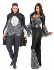 Parkostume sort og hvid vampyr Halloween
