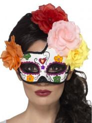 Halvmaske farvet med farvede roser kvinder Dia de los muertos