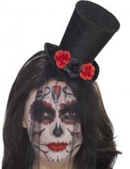 Minihat med roser og slør Dia de los Muertos