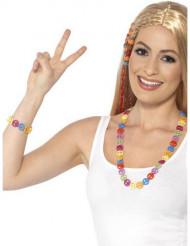 Armbånd og halskæde hippie multifarvet til voksne