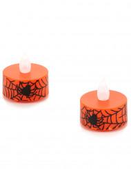 To orange LED-lys med edderkoppemotiv