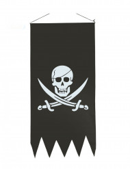 Piratflag med hvidt dødningehoved 43 x 86 cm