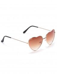 Brune hjerteformede briller med metalstel til voksne