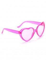 Lyserøde plastikbriller med hjerteform til voksne