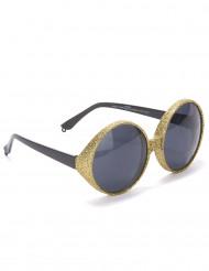 Runde briller med guldfarvede pailletter