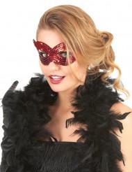 Rød øjenmaske med pailletter til voksne