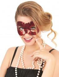 Rød øjenmaske med pailletter til kvinder