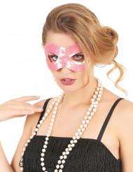 Lyserød øjenmaske med pailletter