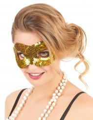 Guldfarvet øjenmaske med pailletter til voksne