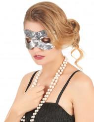 Sølvfarvet øjenmaske med pailletter til voksne