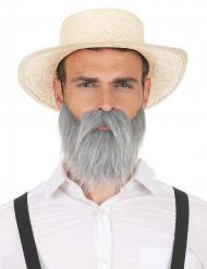 Grå moustache og skæg til voksne