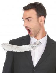 Hvidt slips med pailletter til voksne