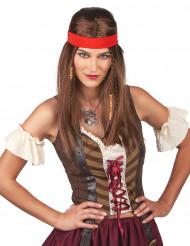 Paryk hippie/pirat med bandana til voksne