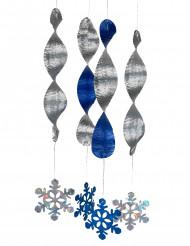 4 hængende spiral-dekorationer snefnug