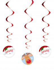 3 hængende spiraler Julemand og rensdyr