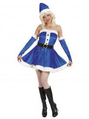 Kostume Julemandens kone blå til kvinder