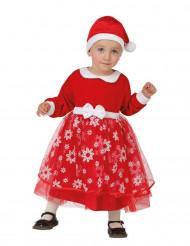 Kostume prinsesse rød med snefnug til baby jul