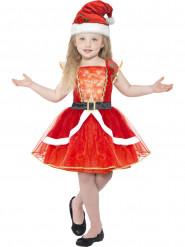 Kostume kjole rød selvlysende med hue piger jul