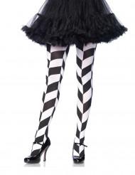 Strømpebukser psykedeliske sorte og hvide til voksne