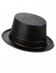 Høj hat plastik sort med glimmer