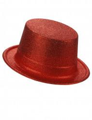 Rød høj hat i plast med pailletter til voksne