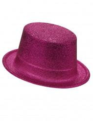 Høj hat i plast med lyserøde pailletter til voksne
