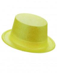 Høj gul hat i plast med pailletter til voksne