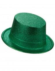 Høj hat i plast med grønne pailletter til voksne