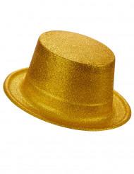 Høj hat i plast med guldfarvede pailletter til voksne