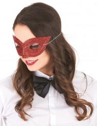 Rød venetiansk øjenmaske med pailletter