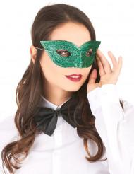 Grøn venetianskmaske med glimmer