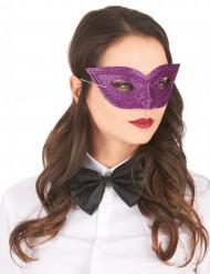Lilla venetiansk øjenmaske med lilla glimmer