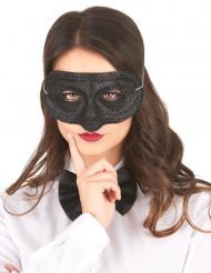 Maske plastik med glimmer sort til voksne