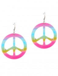 Multifarvede plastikøreringe Peace&Love til voksne