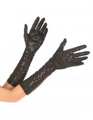 Halvlange handsker med pailletter til voksne