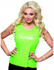 Top med pailletter neon grøn med sløjfe sexy til kvinder