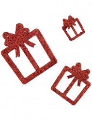 6 gavedekorationer røde med glimmer