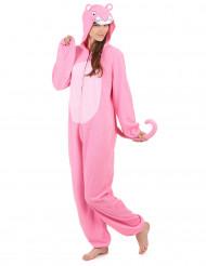 Heldragt med hætte lyserød panter til kvinder