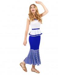 Gallisk kostume i hvidt og blåt dame