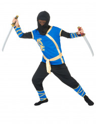 Kostume ninja blå og guld til drenge
