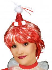 Minihat klovn rød med pomponer til voksne
