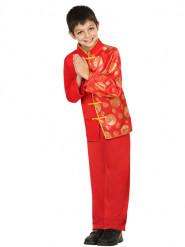 Rødt og guldfarvet kinesisk inspireret kostume dreng