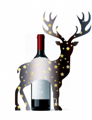 Dekoration til flasker julehjort 33x43 cm