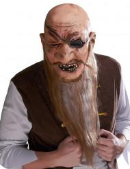 Maske latex Pirat med langt skæg til voksne
