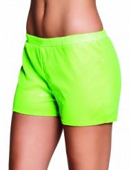 Shorts med pailletter grøn neon til kvinder